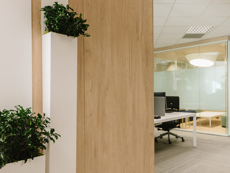 Quality Control Building_Biophilia in the partitions