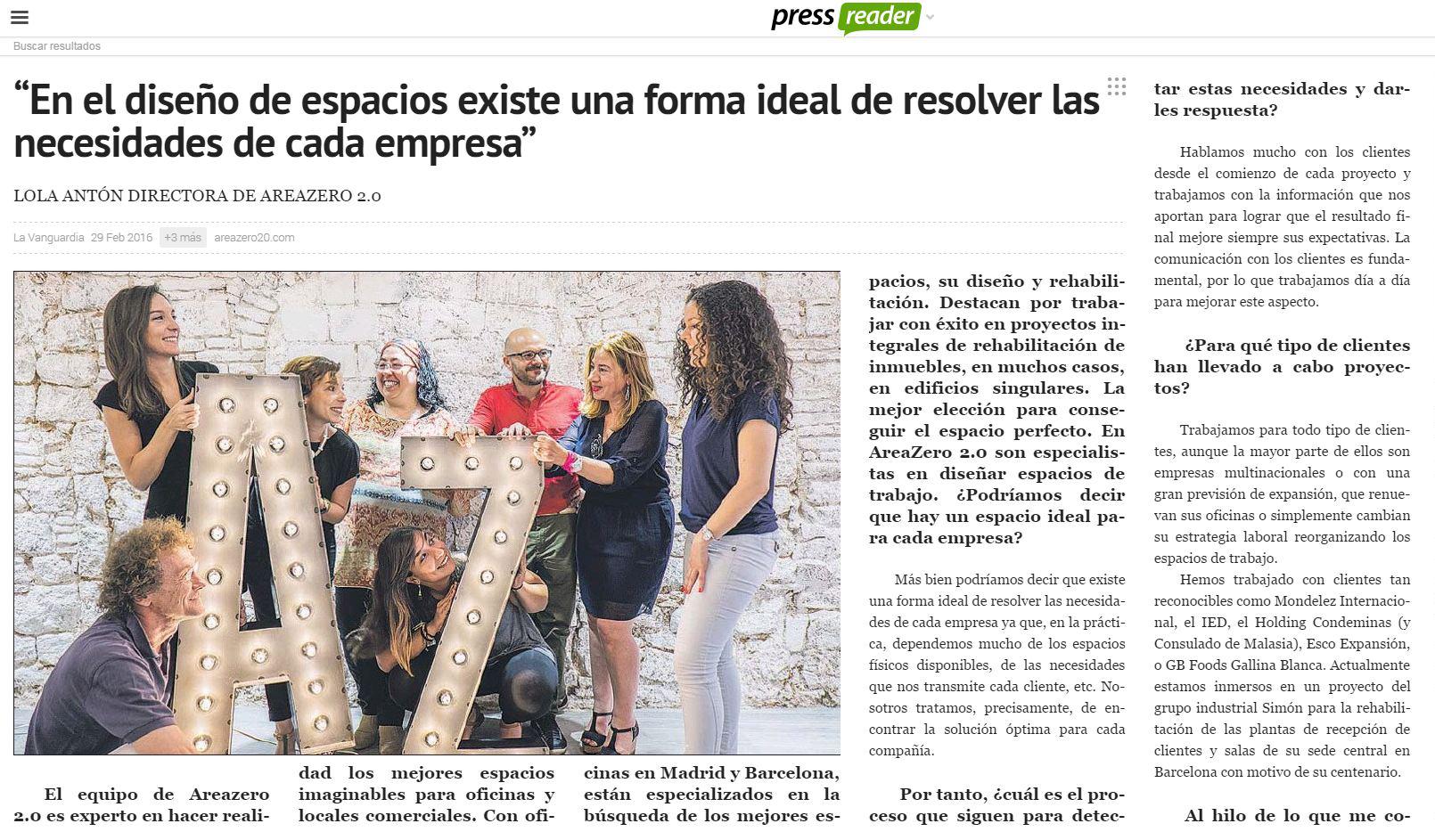 AREAZERO 2.0 EN 'LA VANGUARDIA'